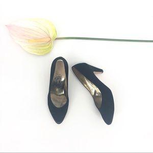 Salvatore Ferragano Black Satin Pumps Heels 8.5 B